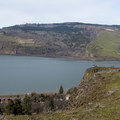 Vista views of the Columbia River in winter. - Mosier Creek Falls + Plateau Trail