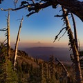 Sunset view from Mount Adams to Mount Hood.- Mount Adams: South Climb