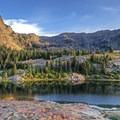 Sundial Peak (10,320 ft) and Dromedary Peak (11,433 ft) over Lake Blanche in Twin Peaks Wilderness.- Wander Among Wilderness Areas