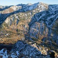 View of the route and Little Cottonwood Canyon from the top of Mount Superior.- Twin Peaks Wilderness