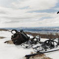 Snowshoes at the summit of Mount Beacon.- 12 North American Mountain Towns Perfect for Winter Adventure