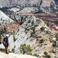 Standing at the top of the first steep pitch on the North Guardian Angel.- Zion National Park