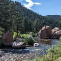 There are a few good swimming spots near the boulders close to the confluence of the Platte Rivers.- 5 Favorite Swimming Holes Near Denver