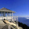 Historic fire lookout at the summit of Mount Pilchuck (5,324 ft).- Mountain Loop Highway Itinerary