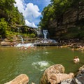 Above the swimming hole at the base of of the Cummins Falls.- 10 Must-Do Hikes Near Nashville, Tennessee