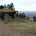 Gazebo along Castle Trail with Denver in the distance.- Castle Trail Hike