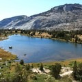 Overlooking Vogelsang High Sierra Camp, Tuolumne Meadows to Yosemite Valley hike.- California's Best Backpacking Trips