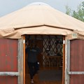 French doors at the Phoenix Ridge Backcountry Yurt give the yurt an open feel to the outdoors.- Glamping