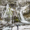 Panther Creek Falls after a fresh winter snow.- The Best Winter Waterfalls Worth Chasing
