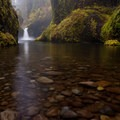Punchbowl Falls at high flow after recent fall rains.- Eagle Creek Hike to Tunnel Falls