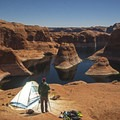 Camping for the sunrise view at Reflection Canyon.- Hole in the Rock Road