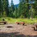 Community fire ring at Cayuse Horse Campground.- Great Camping Near the Enchantments