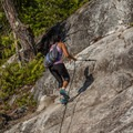 Several fixed ropes aid hikers on the steepest sections of the Sea to Summit Hike.- Best Day Hikes near Vancouver, B.C.