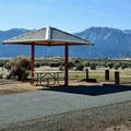 A standard campsite in the park campground.- Washoe Lake State Park