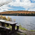 A beautiful lakeside campsite in Ground Pond Campground.- The Ultimate Fall Foliage Road Trip in Vermont