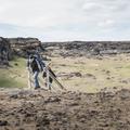 A stairway leading down to the sand.- Víkingaaldarkuml í Skarðsvík