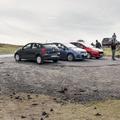 A small parking area.- Víkingaaldarkuml í Skarðsvík