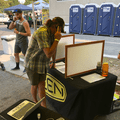 Making phone calls in support of conservation efforts thanks to KEEN's Better Take Action campaign at the 2018 Outdoor Project Salt Lake City Block Party.- Outdoor Project's 2018 Block Party Festival Series Recap
