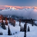 Last alpenglow on the Tatoosh as the sun sets. Tracks through Paradise Valley are evidence of many visitors.- Paradise Valley Snowshoe Loop