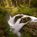 A long exposure gives the falls an almost soft look.- Sol Duc Falls