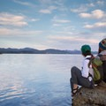 Sitting on Storm Point at Yellowstone Lake.- Yellowstone National Park