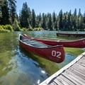 Canoe and boat rentals at the marina at Suttle Lake Lodge.- Oregon's 60 Best Lakes for Summer