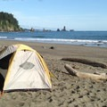 Most camping at  La Push, Third Beach is on the sand at the individual's discretion.- Beach Camping in the West