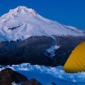 Settling in for a night on Tom Dick and Harry with Mount Hood (11,250 ft) behind.- How to Pick the Right Snowshoe