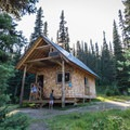 The cabin at Tenquille Lake.- Tenquille Lake Hike via Tenquille Creek Trail