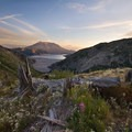 High clouds appear to emanate from the smoldering volcano, Mount St. Helens.- Washington's Best Backpacking Trips