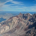 The obvious layers of various types of rock are clearly visible from the crater rim.- Mount St. Helens National Volcanic Monument