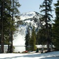 Fresh snow around Indigo Lake.- Best Lake Camping in Oregon