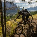 Exposed rock and beautiful views on Rampage in Valleycliffe.- Mountain Biking in British Columbia