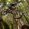 A drop on Silver Spoon, one of the double-black trails in Valleycliffe.- Mountain Biking in British Columbia