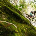 A mossy rock roll leading into a sizeable drop on Silver Spoon at Valleycliffe.- Mountain Biking in British Columbia