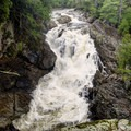 Wilmington Notch Falls as seen from the campground side of the river.- 10 Must-See Waterfalls in New York