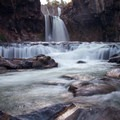 White River Falls from below.- White River Falls State Park