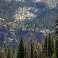 View of the Panorama Trail just above Illilouette Falls.- Panorama Trail via Glacier Point