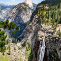 Illilouette Falls with Half Dome in the distance along the Panorama Trail.- Panorama Trail via Glacier Point