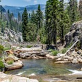 Bridge over Illilouette Creek just above Illilouette Falls.- Panorama Trail via Glacier Point
