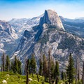 View to Half Dome from Panorama Trail, just outside of Glacier Point.- Panorama Trail via Glacier Point