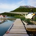 The docked float planes.- Learning to Fly in Moose Pass, Alaska