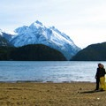 Chris and I at the lake outside his hobbit house cabin in Argentina.- Woman In The Wild: Steph Jagger