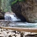A view of the smaller falls head on.- Johnston Canyon Upper Falls Hike