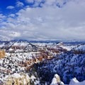 Red rocks, white snow, and blue sky. A perfect hike!- Fairyland Loop