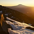 Sunrise on above snowline- Mount St. Helens Hike: Monitor Ridge Route