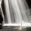 Swimming in the frigid water- Bingham Falls