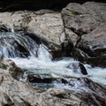 Small, upper falls with good wading for kids- Bingham Falls