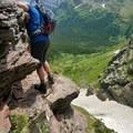 very narrow cliff to go along - be safe- Iceberg Lake