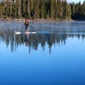 Early morning paddle boarding from North Cammpground- Waldo Lake, North Waldo Campground